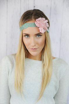 Lace Flower Headband SOFT SAGE Lace Fabric Flower by ThreeBirdNest, $28.00