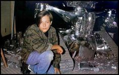 Rare behind the scenes photo of Edward Furlong on the set of #Terminator 2 (1991)