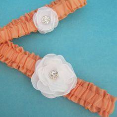Garter set Peach White Rose Bridal Garter Set G272  by HARTfeltart, $38.00