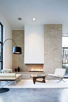 brick mid century inspired fire place