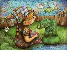 "Counted Cross Stitch Pattern of the painting ""Theres an Elephant in My Garden"" by karin taylor"