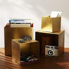 2-Piece Large Brass Storage Boxes | CB2