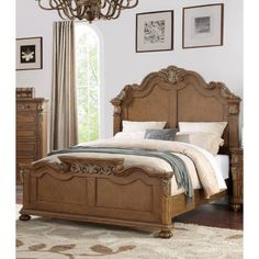 Astoria Grand This bed frame features carved floral accents on the headboard and footboard. The traditional style is available with a solid panel. Solid Wood Platform Bed, Upholstered Platform Bed, Victorian Bed Frames, Victorian Furniture, Wood Bedroom Sets, Wooden Bedroom, Dreams Beds, Wooden Bed Frames, Traditional Bedroom