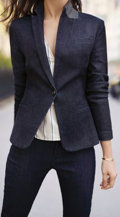 Denim is not only for jeans. Keep your look fresh this season with our tailored denim blazer. Pair this piece with a silky blouse and slacks for a must have 9 to 5 and beyond look   Banana Republic