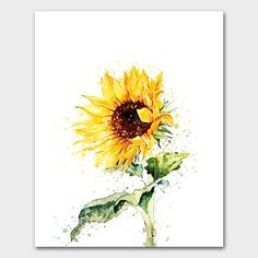 Watercolor flowers, spring flowers, hand drawn flowers, sunflower decor, sunflower painting, yellow sunflowers, sunflower print, yallow art by ColorParadise on Etsy https://www.etsy.com/listing/527556172/watercolor-flowers-spring-flowers-hand
