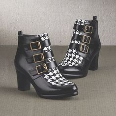Houndstooth Inset Bootie by Midnight Velvet. Step out with sass—this black-and-white bootie has plenty of attitude, with a bold houndstooth front panel and a trio of buckles at the side.