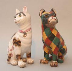 Важно Галле Фаянс Кошка и собака изображение 2