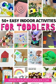 Easy activity ideas for toddlers to do indoors. Stuck indoors with a toddler - these activities will keep them busy at home (and indoors) games for toddlers Indoor Activities For Toddlers, Creative Activities, Infant Activities, Creative Kids, Preschool Activities, Easy Toddler Crafts, Toddler Preschool, Toddler Games, Toddler Play