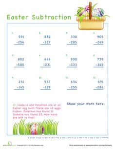 Worksheets: 3 Digit Easter Subtraction