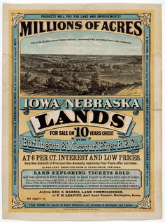 Poster Advertising Low Cost Land From The Railroads.
