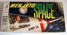 "I love vintage board games and space toys, so this 1960 Milton Bradley ""Men Into Space"" game was an exciting find. Vintage Board Games, Fun Board Games, Games To Play, Game Boards, Space Games, Space Toys, Retro Toys, Vintage Toys, Space Tv Shows"