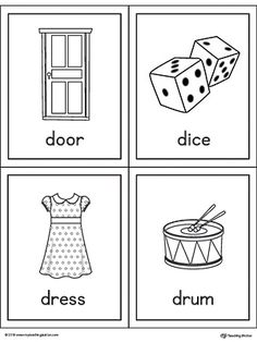 Letter D Words And Pictures Printable Cards Door Dice Dress Drum