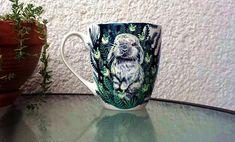 Firefly bunny mug, Porcelain mug, Magical garden cup, Magic animal gift, Cute christmas gift - - Porcelain Mugs, Ceramic Mugs, Pet Gifts, Gifts In A Mug, Unique Christmas Gifts, Christmas Cup, Hand Painted Mugs, Bunny Art, Love Painting