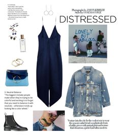 """True Blue: Distressed Denim"" by tamo-kipshidze ❤ liked on Polyvore featuring Cushnie Et Ochs, J.W. Anderson, Valentino, R13, Lanvin, Loewe, STELLA McCARTNEY, denim, Blue and true"