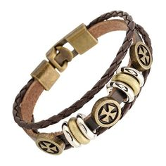 New Fashion Classic DIY leather barcelets men silver ally beaded charm jewelry punk rock ripe men bangles pure handmade bracelet