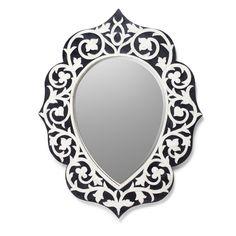 Bone Inlay Black Handmade Home Decor Mirror Frame Handmade Home Decor, Handmade Items, Reclaimed Wood Table Top, Black And White Interior, Black White, Home Decor Mirrors, Black Mirror, Mirror Mirror, Arabesque