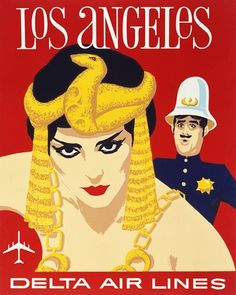 Los Angeles • Delta Air Lines #travel #poster (1960s)