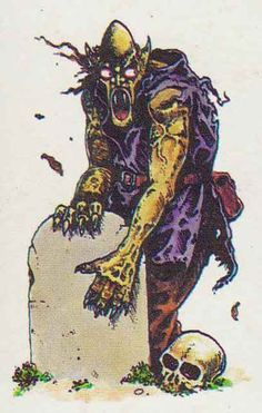 Ghoul from Talisman2nd edition, illus. Gary Chalk, Games Workshop, 1985. The ghoul is a playable character who can keep a life point taken from an enemy, and can raise a defeated enemy from the dead as a follower.