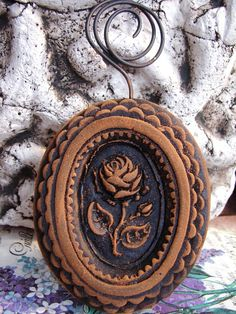 Primitive ROSE CAMEO Blackened Beeswax Folk by BlackRockFolkArt, $16.99