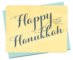 Hanukkah Flourish - real birch wood holiday card