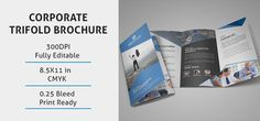 Corporate Trifold Brochure Template. This template download contains 300 dpi print-ready CMYK PSD files. All main elements are easy to edit and customize. More Details: https://devitems.com/item/corporate-trifold-brochure-template/