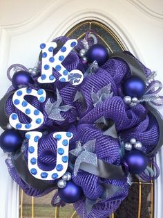 Kansas State Wildcats Deco Mesh Wreath by Dudlebugs on Etsy, $30.00 Purple Wreath, Kansas State Wildcats, Deco Mesh Wreaths, 4th Of July Wreath, Craft Ideas, Crafty, Trending Outfits, Unique Jewelry, Handmade Gifts