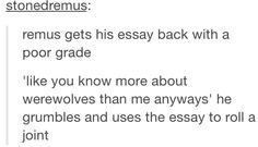 This would never happen because Remus is such a good boy, but still, it would be brilliant if it did happen.