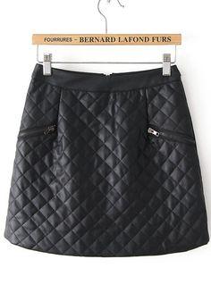 Falda cuadros piel cremallera-Negro EUR€17.99