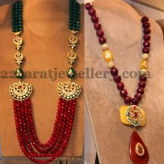 Jewellery Designs: Stylish Fancy Ruby Beads Sets