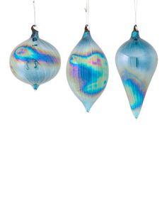 Blue Iridescent Ornament Set #zulily #zulilyfinds
