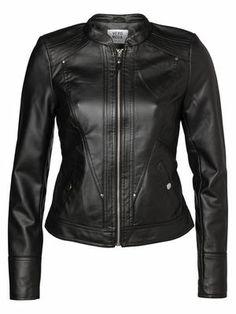 @Veronica MODA #Graphic #Leather  HIBISCUS SHORT PU JACKET, Black, main
