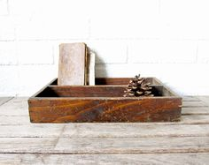 Vintage Divided Wood Box - Rustic Wooden Box - Desk Organizer - Primitive Home Decor