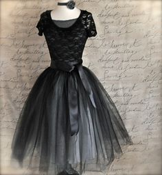 Black and silver tulle tutu skirt for women--A Night at the Ballet.. $145.00, via Etsy.