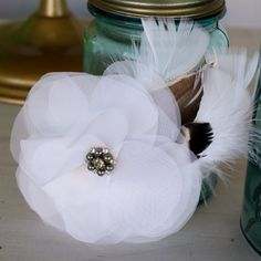 White Organza Wedding Hair Flower With Feathers and by CBPaperie, $12.00
