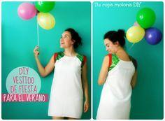 DIY: tutorial para hacer un vestido de fiesta muy veraniego. Con lentejuelas en los hombros.