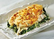 Creamed Spinach Sole from Publix Aprons Spinach Recipes, Fish Recipes, Veggie Recipes, Seafood Recipes, Cooking Recipes, Healthy Recipes, Seafood Dishes, Yummy Recipes, Dinner Ideas