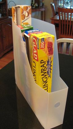 Free up a drawer by storing food wrap and foil in a magazine holder