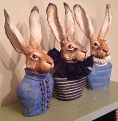 art gallery,unique, limited edition and commissioned hanging art,sculpture and ceramics Ceramic Animals, Clay Animals, Ceramic Art, Pottery Sculpture, Sculpture Art, Lapin Art, Rabbit Art, Rabbit Crafts, Rabbit Sculpture