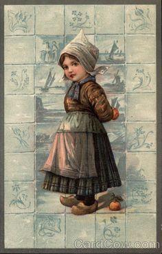 Dutch Girl with Fruit♥ on Tile Background Dutch Children