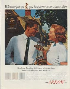 """Description: 1961 ARROW SHIRTS vintage magazine advertisement """"Wherever you go"""" ~ Wherever you go you look better in an Arrow shirt . New Arrow Dectolene shirt . Wherever You Go, Arrow Shirts, Fashion Marketing, Hush Puppies, Vintage Outfits, Vintage Clothing, Vintage Ads, American, 1950s"""