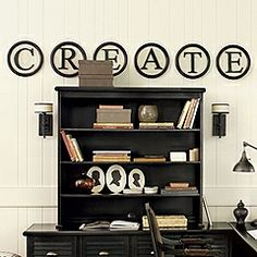 Ballard design knock-off: use embroidery hoops painted black, and linen/burlap inside with black letters on top. This would be fun for an Art room! Diy Wall Art, Wall Decor, Diy Art, Wood Letters, Sign Letters, Ballard Designs, Do It Yourself Home, Home Crafts, Diy Crafts