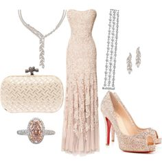 A fashion look from July 2014 featuring Marchesa gowns, Christian Louboutin pumps y Bottega Veneta clutches. Browse and shop related looks.