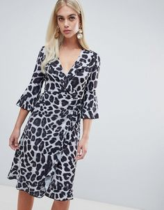 Outrageous Fortune ruffle wrap midi dress with fluted sleeve in mono leopard 8388a466c