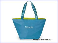 Check out Personalized Classic Blue, Canvas, Beach Tote, Pool Bag, Pool Tote, Summer Camp, Spa Bag, Spa Carryall, Large Bag, on breezyoaksdesigns