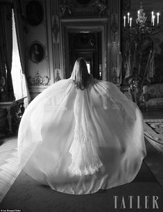Floating on a cloud: Camilla Thorp, now Marchioness of Blandford, shows off the drama of her organza wedding cape as she walks through the halls of the century Blenheim Palace, which her husband George, will one day inherit St Mary Magdalene Church, Royal Marriage, Blenheim Palace, Marquess, Man And Wife, Wedding Cape, Royal Weddings, Wedding Wishes, Wedding Pictures