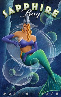 sapphire bay art deco poster - Cerca con Google
