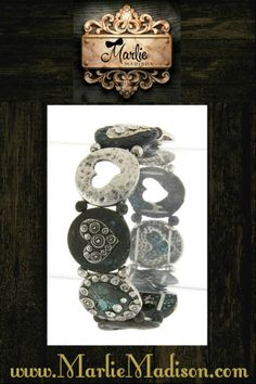 Antique Heart Charm Bracelet in Turquoise and Silver http://www.marliemadison.com/accessories/jewelry