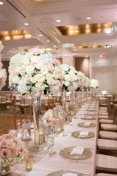 See more of Nilou and James' Persian-American real wedding ceremony and soft-hued ballroom wedding reception with florals by Bella Flora of Dallas! Wedding Table Centerpieces, Reception Decorations, Wedding Centerpieces, Ballroom Wedding Reception, Reception Rooms, Wedding Ceremonies, Wedding Receptions, Olive Wedding, Floral Wedding