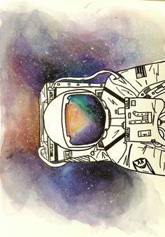 Astronaut watercolor space painting galaxy