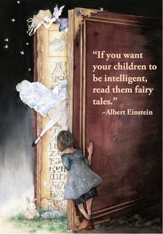 """If you want your children to be intelligent, read them fairy tales - Albert Einstein. """"Into the Book World"""" - illustration by """"moffs"""" I Love Books, Good Books, Books To Read, Reading Quotes, Book Quotes, Reading Books, Quote Books, Reading To Children Quotes, Fairy Quotes"""